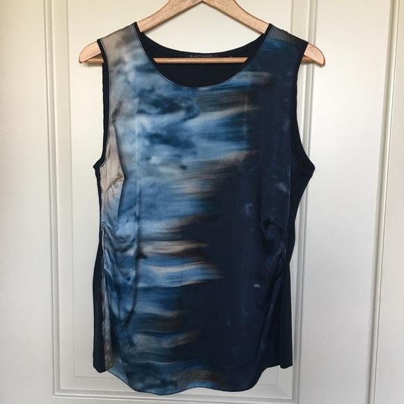Elie Tahari Tops - Elie Tahari navy print silk sleeveless top sz L